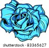 Vector Tattoo Blue Rose - stock photo