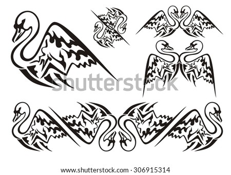 Vector tattoo style swan symbols. Tribal swan symbols and swan stripe. Black on the white