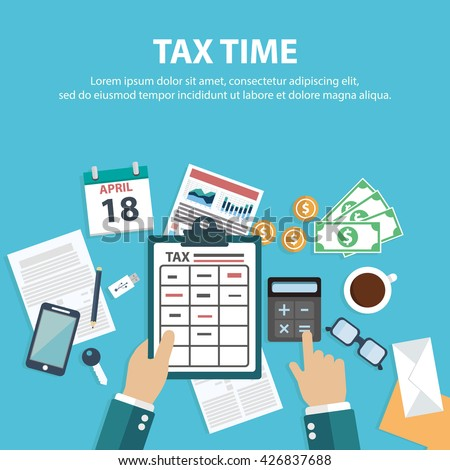 Vector tax day design,Tax payment. Government taxes. State taxes. Data analysis - stock vector