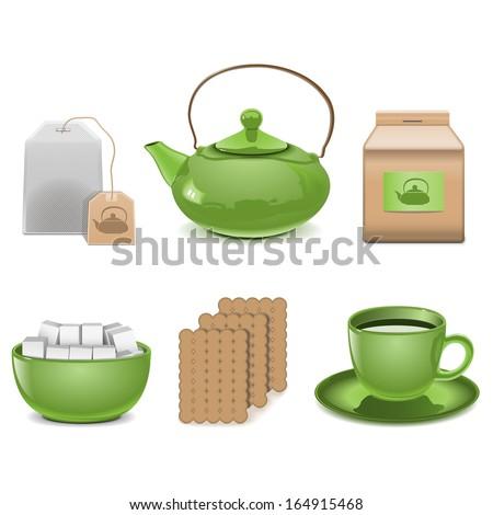 Vector Tea Icons - stock vector