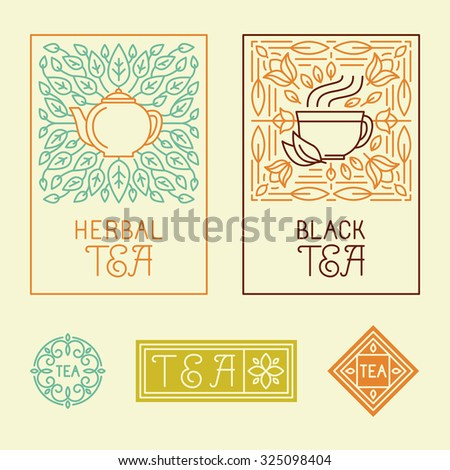 Vector tea packaging labels and badges in trendy linear style - icons and badges - organic herbal and black tea - stock vector