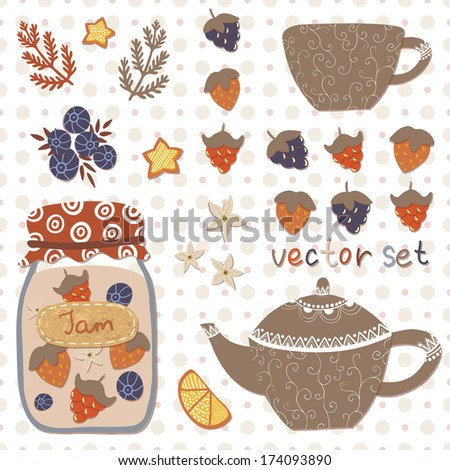 Vector tea set: jar with jam, teapot and cup, lemon, strawberry, raspberry, blackberry, blueberry, branches and stars on the seamless doted background in vintage colors. All elements are editable.  - stock vector