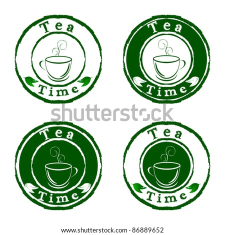 Vector tea time stamps set isolated on white background - stock vector