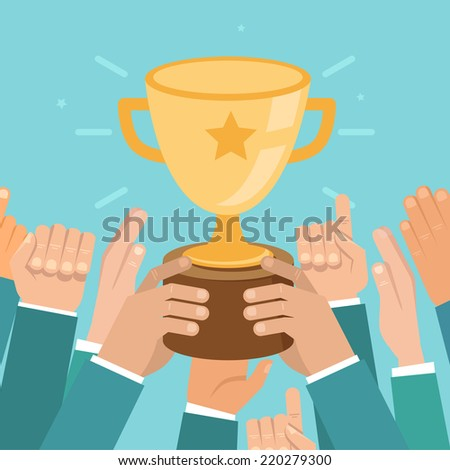 Vector team victory concept in flat style - business competition illustration - stock vector