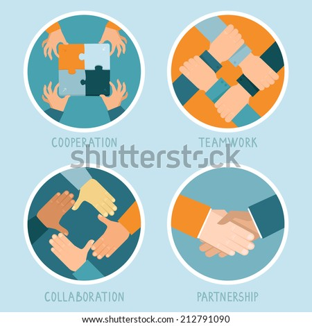 Vector teamwork and cooperation concept in flat style - partnership and collaboration icons - businessmen hands - stock vector