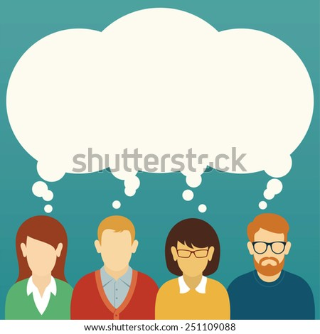 Vector Teamwork Concept. Brainstorming. People icons with thought bubble. - stock vector