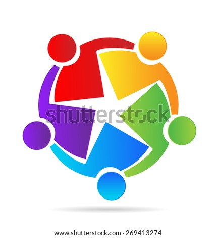 Vector teamwork concept of community,education,workers,unity,social networking icon image logo template - stock vector