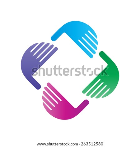 Vector teamwork concept of community,workers,unity,social networking,hug and friendship icon image. - stock vector