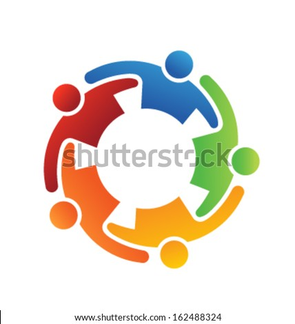 Vector Teamwork Embrace 5 Group of People - stock vector