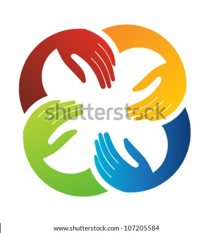 Vector Teamwork Hands Logo Template - stock vector
