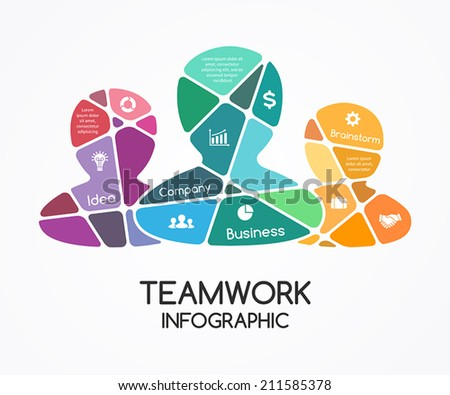 Vector teamwork infographic. Template for a partnership presentation. A business concept with a group of people. Social cooperation for success. - stock vector
