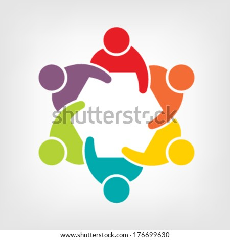Vector Teamwork Meeting 6. Group of People - stock vector