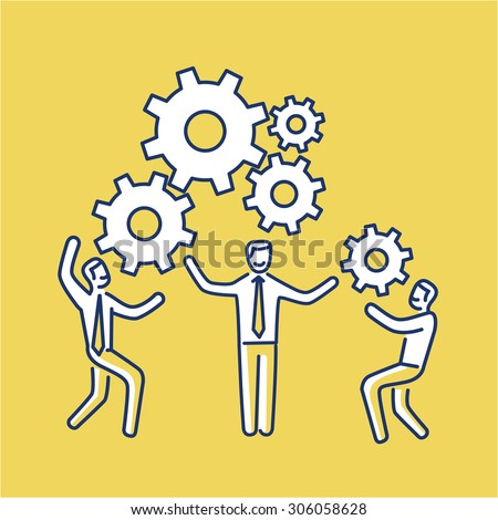 Vector teamwork skills icon of businessmans with gears building engine together | modern flat design soft skills linear illustration and infographic on yellow background - stock vector