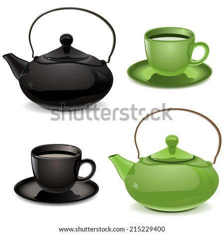 Vector Teapot and Cup - stock vector