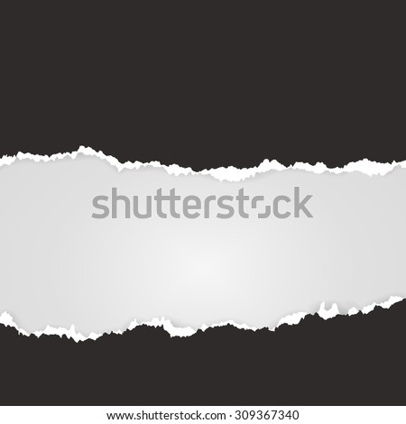 Vector tear paper, black template with horizontal place for text