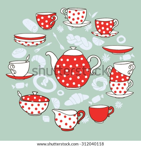 Vector TeaTime illustration, with polka-dot tea porcelain - stock vector