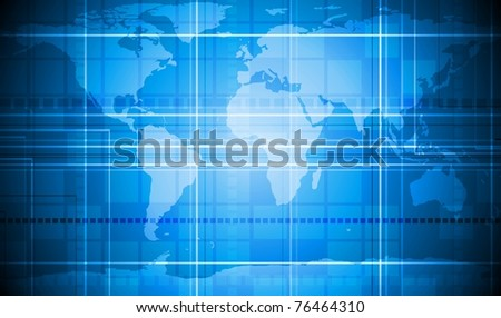 Vector tech background with world map texture. Eps 10 - stock vector