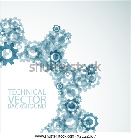 Vector technical background made from various cogwheels - stock vector