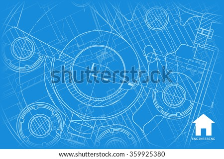 Vector technical blueprint of mechanism. Engineer illustration.  Architect background