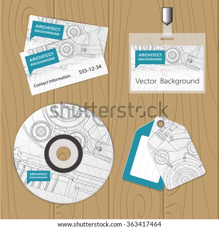 Vector technical blueprint of  mechanism. Engineer illustration. Set of corporate identity templates. Vector illustration. Eps10