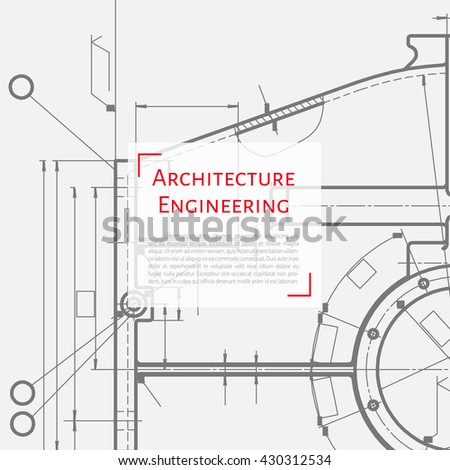 Vector technical blueprint of mechanism. Engineer illustration. Set of corporate identity templates. Architecture Background - stock vector