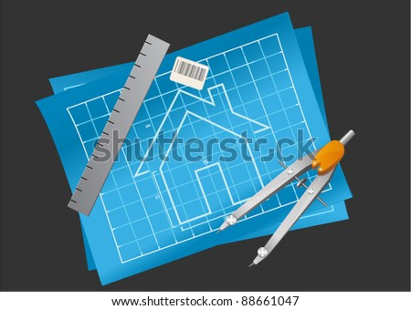 Vector technical drawing with drawing compass, ruler and eraser - stock vector