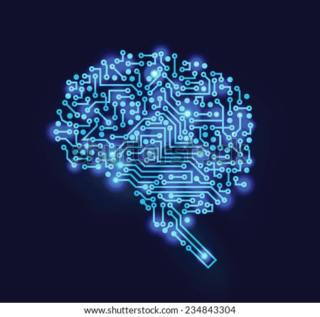 Vector technologic brain - stock vector