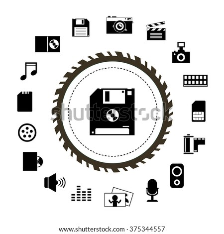 vector technology and storage icon set