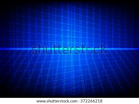 Vector technology  binary code with grid on blue  background - stock vector
