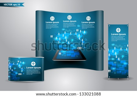 Vector technology business concept, Network process diagram on computer tablet PC With trade exhibition stand display - stock vector