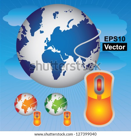Vector : Technology or Internet and Online Concept Present By Colorful Globe With Orange Mouse Isolated on White Background - stock vector