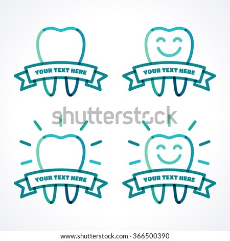 Vector teeth set. Teeth with ribbon, shining teeth, smiley teeth. Green, blue, turquoise linear tooth symbol, icon, logo. Place for your text - stock vector