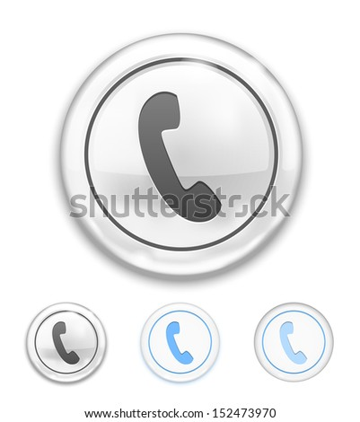 Vector Telephone Icon on Button on white background - stock vector