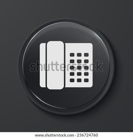 Vector telephone modern black glass circle icon. Eps10 - stock vector