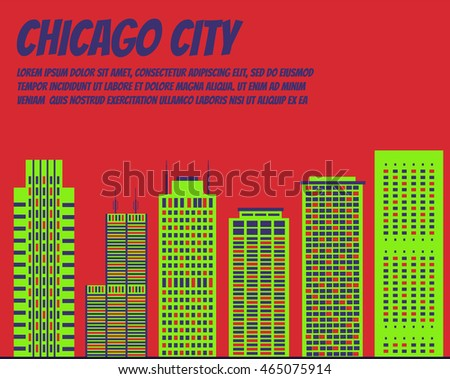 Vector template banner for website header, advertisement. Vector flat city for banner, illustration, background, game. Flat city for presentations. Colorful Chicago city for banner of hackathon