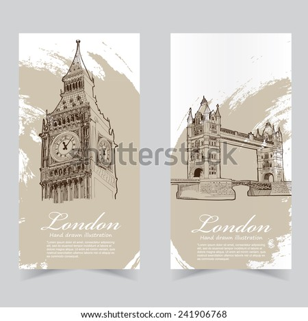 Vector template banners. Hand drawn illustrations of England. abstract background