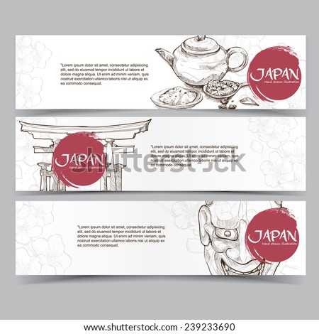 Vector template banners. Hand drawn illustrations of Japan. abstract background - stock vector