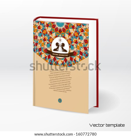 Vector template book cover. Multicolored round geometric pattern. Beautiful label with two horses and ribbon. Place for your text. Realistic shadow. - stock vector