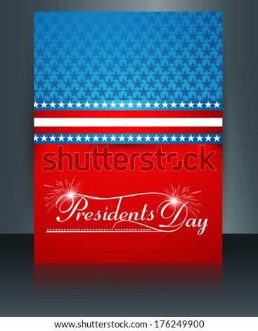 Vector Template Brochure for United States of America in President Day reflection design - stock vector