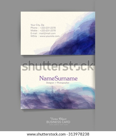 Vector template business card with a watercolor imitation - stock vector