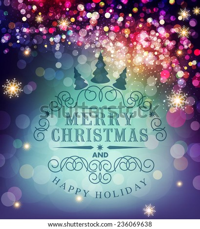 Vector template Christmas typography. Template for Christmas card. - stock vector