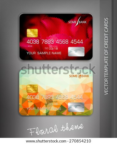 vector template credit cards with flower themes - stock vector