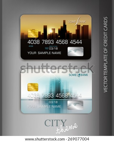 vector template credit cards with modern design - stock vector