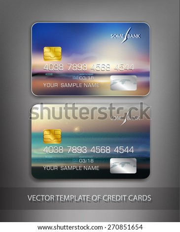 vector template credit cards with seascape - stock vector