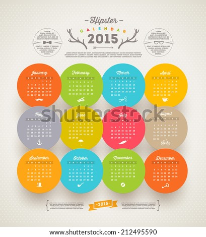 Vector template design - Calendar 2015 with hipster symbols - stock vector