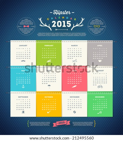 Vector template design - Calendar 2015 with paper page for months - stock vector