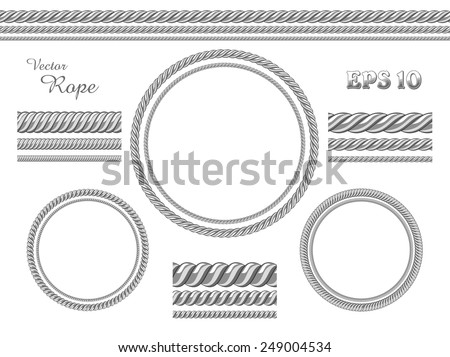 Vector template design elements. Set of different thickness seamless ropes and rope frame isolated on white - stock vector