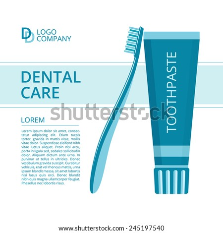 Vector template flyer or poster for dental care. Toothbrush and toothpaste in blue colors. - stock vector