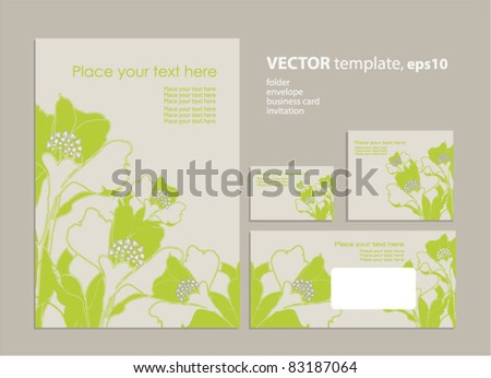 Vector template: folder, business card and invitation on floral background