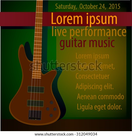Vector template for a concert poster or a flyer featuring an electric  guitar.Jazz,rock,blues music - stock vector